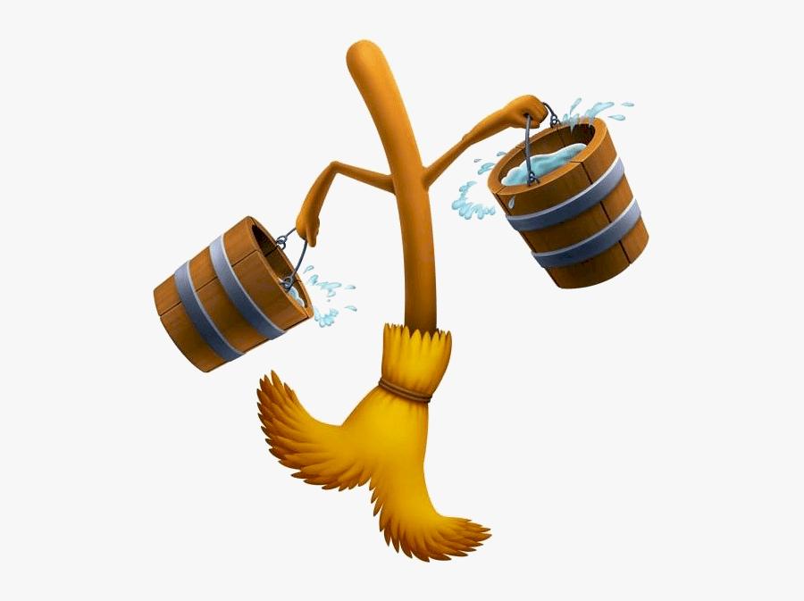 Cinderella Mop And Bucket Clipart - Sorcerer's Apprentice Broom, Transparent Clipart