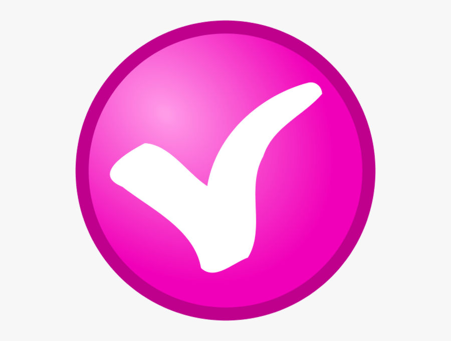 Check Mark In A Round Button Vector Clip Art - Pink Check Mark Emoji, Transparent Clipart