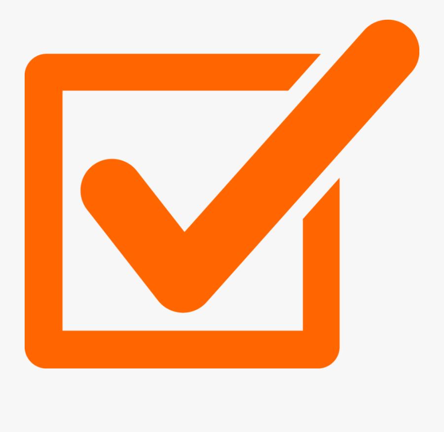 Checkmark Clipart Orange - Orange Tick Check Mark, Transparent Clipart