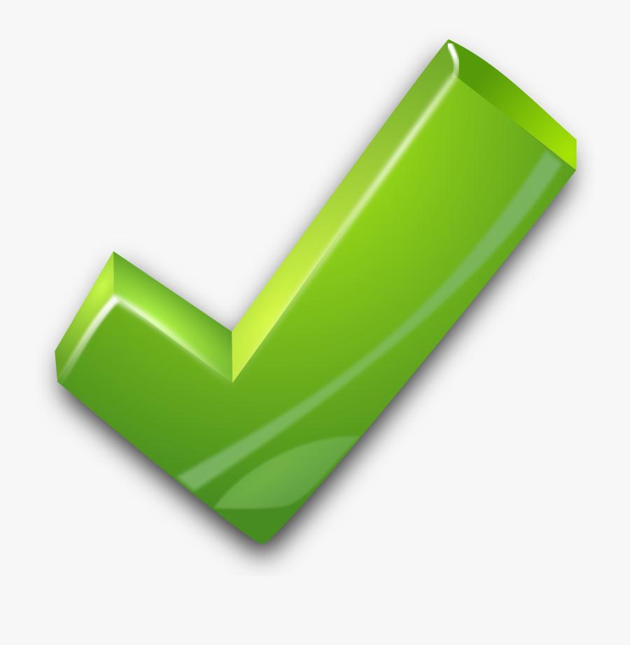 3d Green Tick, Transparent Clipart