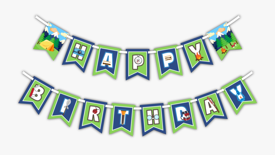 Happy Birthday Camping Banner - Banner Happy Birthday Gymnastic, Transparent Clipart