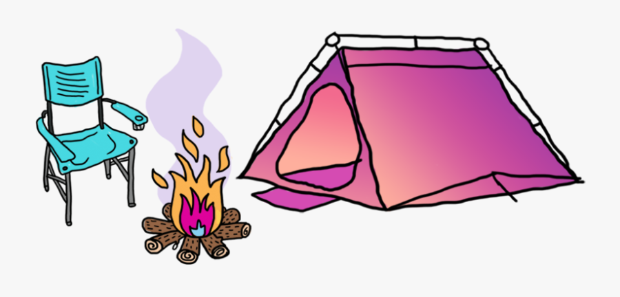 Clipart Tent Campsite - Pink Camping Tent Cartoon, Transparent Clipart