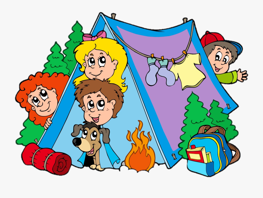 Camping Campsite Tent Family Clip Art - Kids Camping Clipart, Transparent Clipart