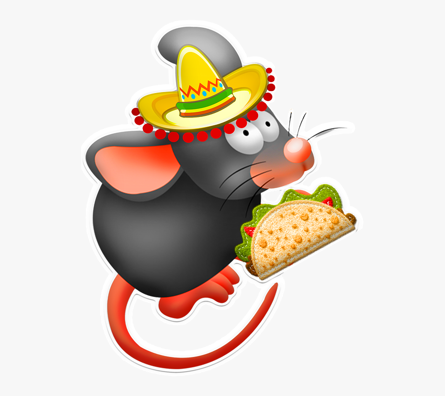 Taco Mouse, Taco, Mouse, Sombrero, Mexican, Mice - Mouse Eating A Taco, Transparent Clipart