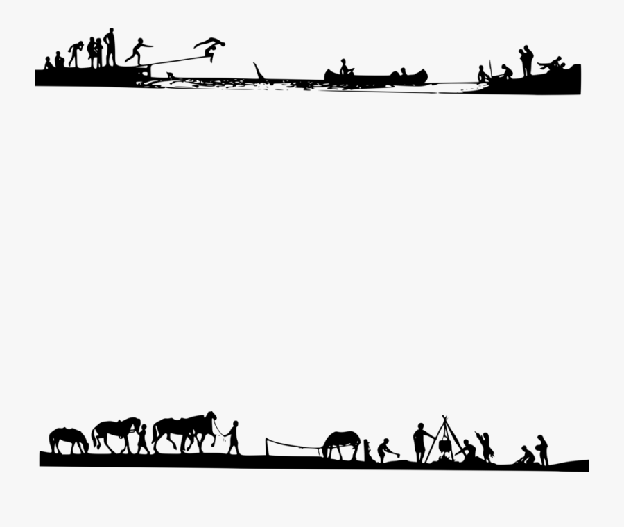 Camping Shadows - Border Camp Clipart Black And White, Transparent Clipart