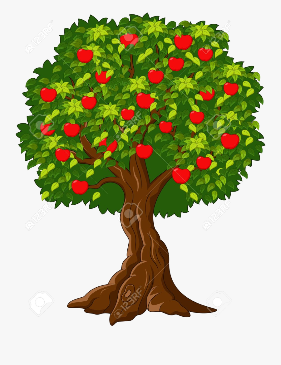 Apple Tree Clipart Cartoon Green Full Of Red Apples - Big Tree With Apples, Transparent Clipart