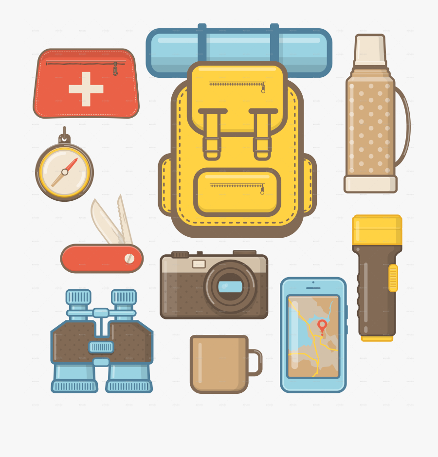 Camping And Hiking Equipment Elements By Sabina - Camping Equipment Icon Png, Transparent Clipart