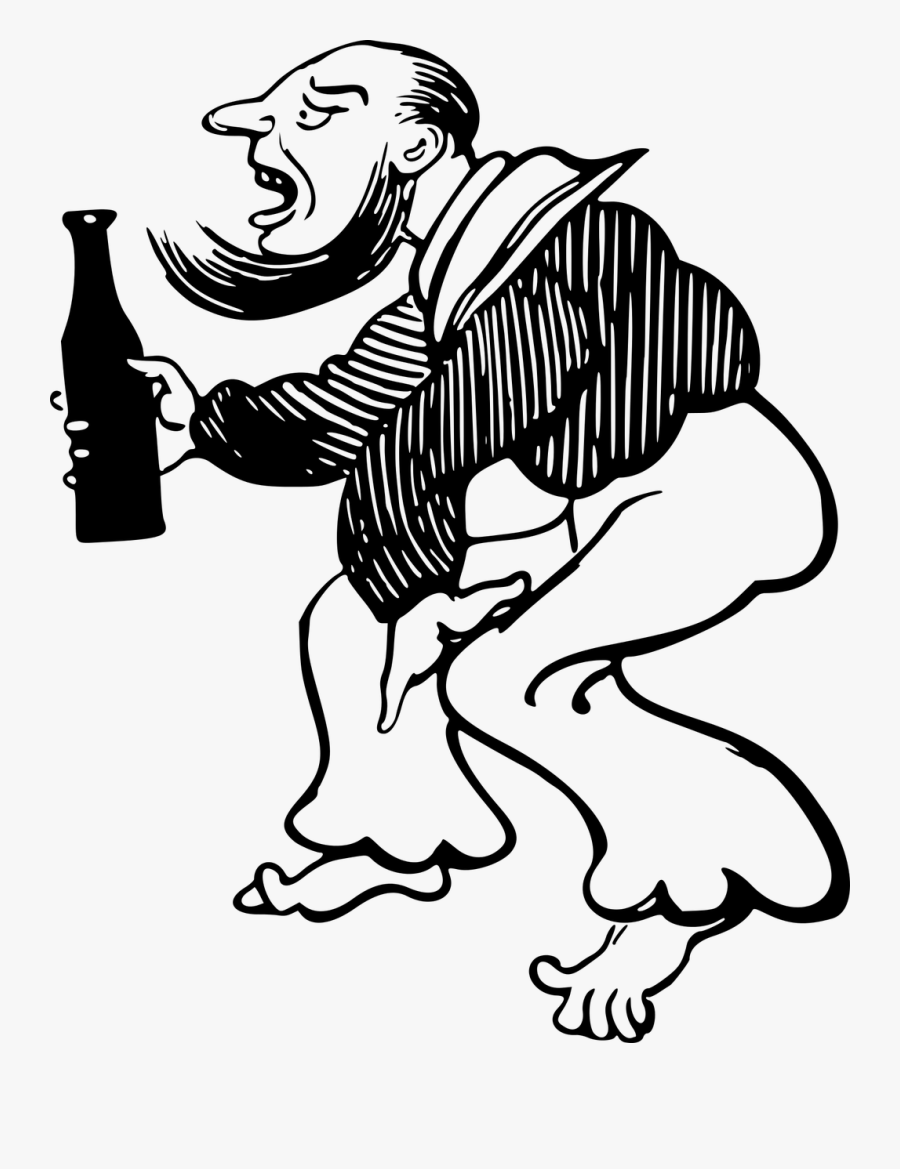 Emotion,art,monochrome Photography - Human Drinking Alcohol Drawing, Transparent Clipart