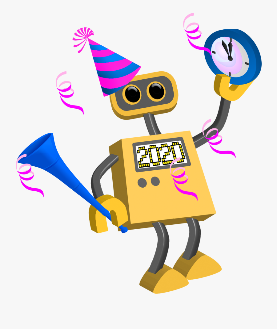 Robot Happy Year Tim - Happy New Year Cartoon 2019, Transparent Clipart