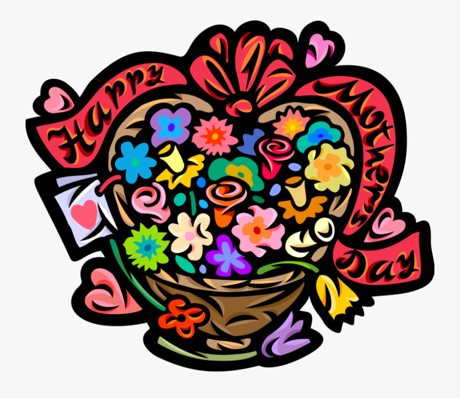 """Vector Illustration Of Happy Mother""""s Day Flower Basket - Mother's Day, Transparent Clipart"""