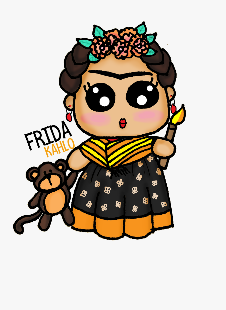 Frida Kahlo Kawaii Draw - Cute Frida Kahlo Drawings, Transparent Clipart