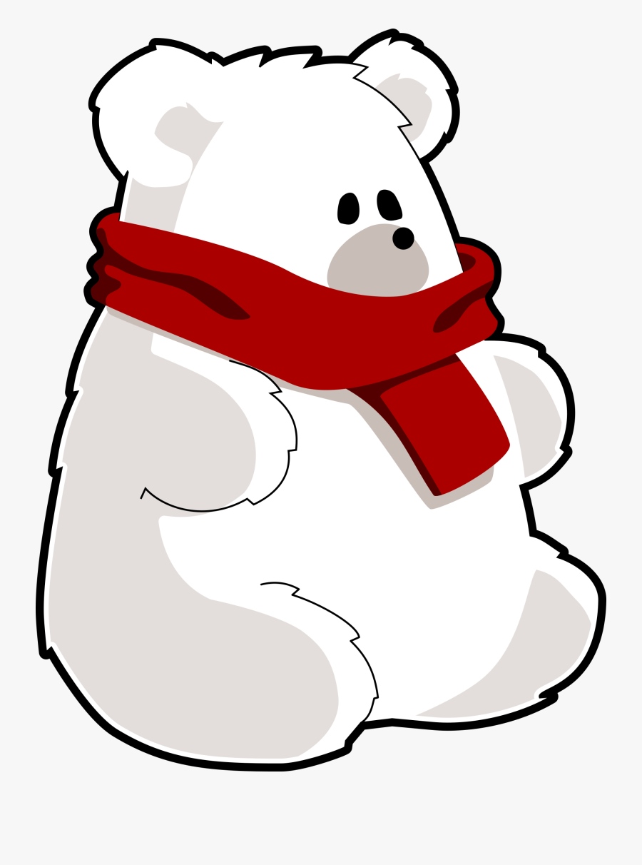 Bear With Red Scarf - Polar Bear With Scarf, Transparent Clipart
