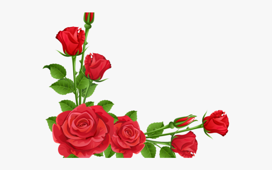 Red Roses Clipart - Design Of Flowers Borders, Transparent Clipart