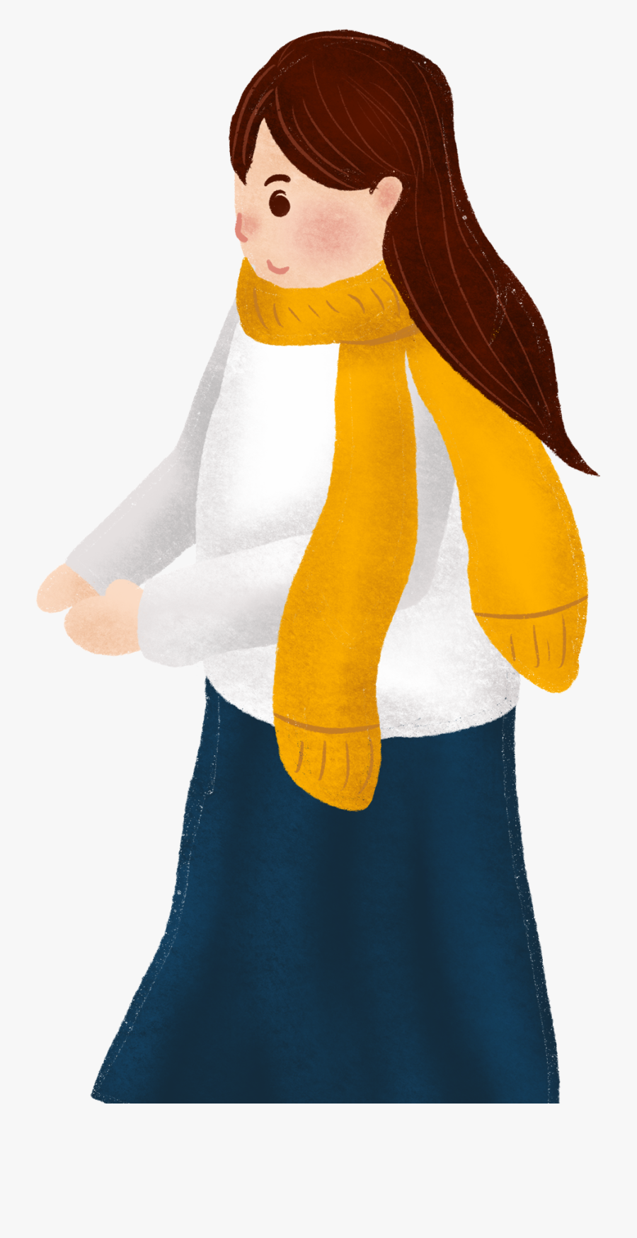 Painted Girl Fashion Scarf Png And Psd - Girl, Transparent Clipart
