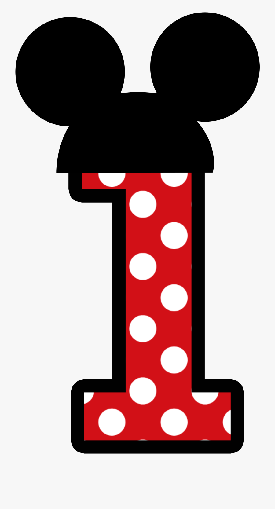 1 Clipart Minnie Mouse - Mickey Mouse Number Png, Transparent Clipart