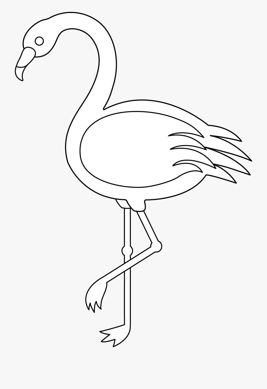 Flamingo Clip Art Outline, Transparent Clipart