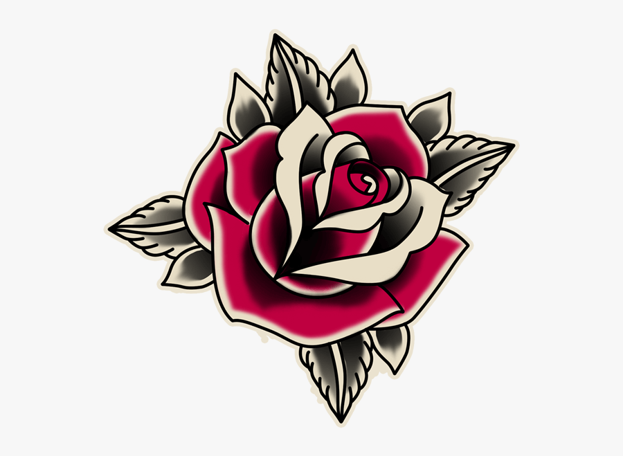 Rose School Old Sticker Free Clipart Hq Clipart - Rose Old School Tattoo, Transparent Clipart