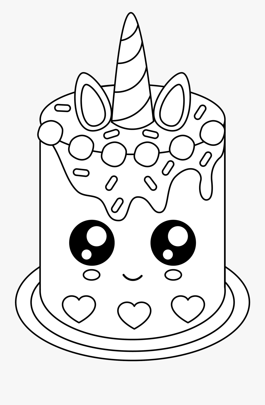 Free Cute Unicorn Cake - Unicorn Cake Coloring Pages ...