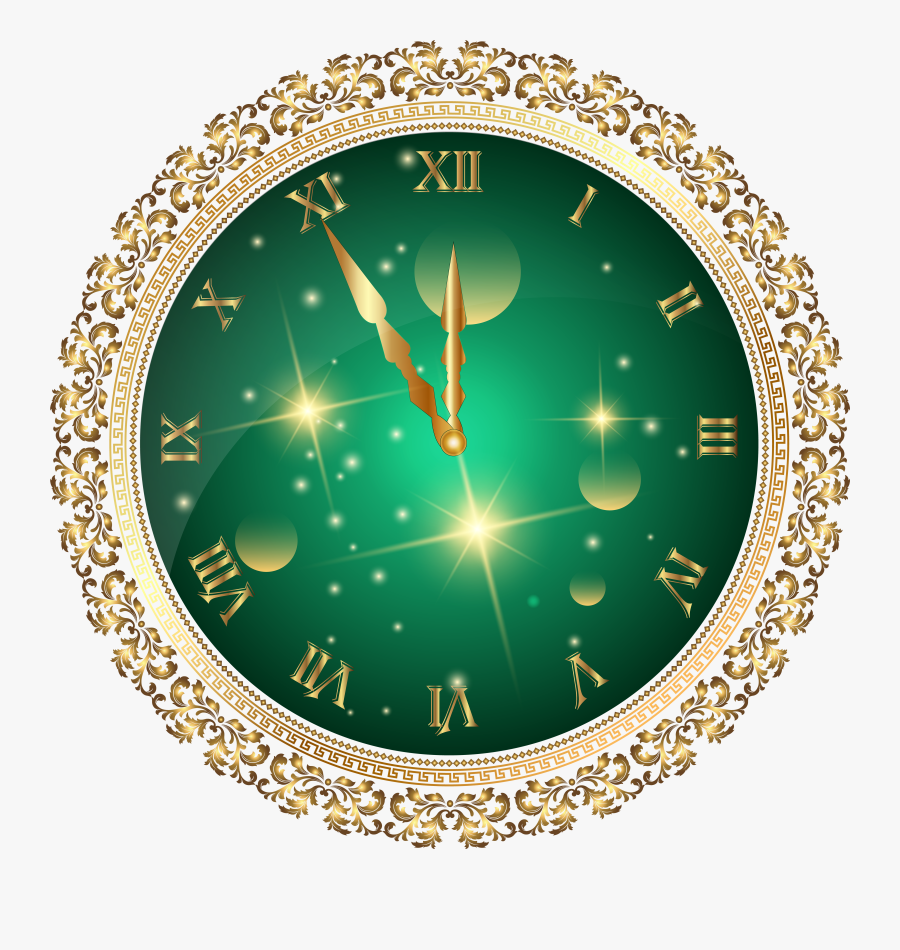 "Green New Year""s Clock Png Transparent Clip Art Image - New Year Clock Png, Transparent Clipart"