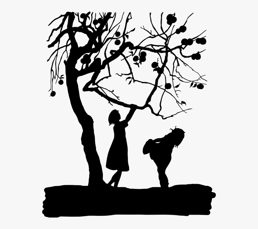 Clip Art Kids Silhouette - Silhouette Tree Branch Apple, Transparent Clipart