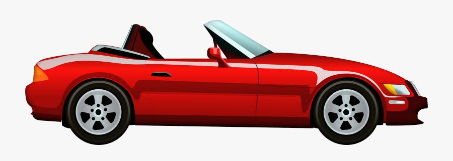 Red Cabriolet Car Png Clip Art - Car Vector Side View, Transparent Clipart