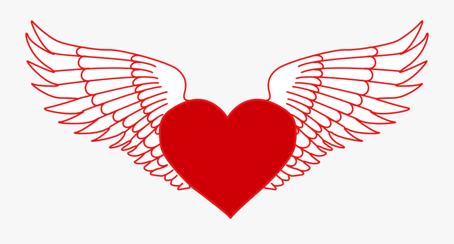 Wings With Heart Svg, Transparent Clipart