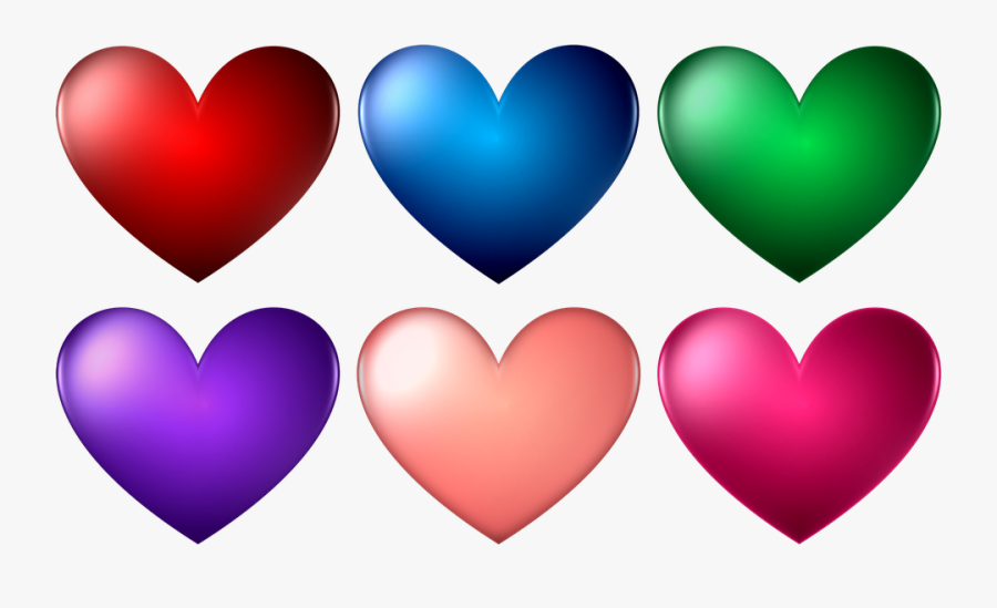Heart, Shape, Love, Romance, Valentine, Romantic - Different Colors Of Heart Shape, Transparent Clipart