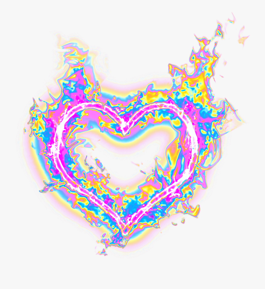 #heart #fire #flames #holographic #holo - Holographic Flame, Transparent Clipart