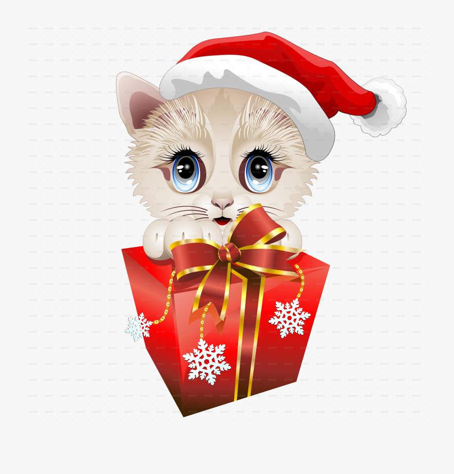 Kitten Clipart Christmas Santa - Funny Christmas Cartoon Cats, Transparent Clipart