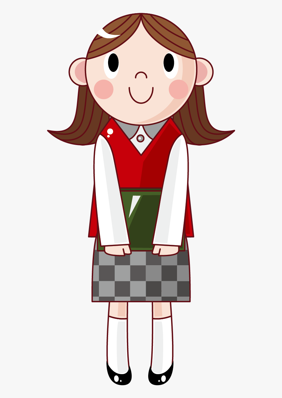 Student Material Illustration Vector Design Female - Cartoon Transparent Girl Student, Transparent Clipart