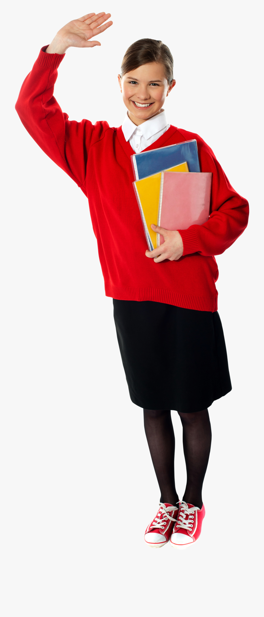 Young Girl Student - Standing, Transparent Clipart