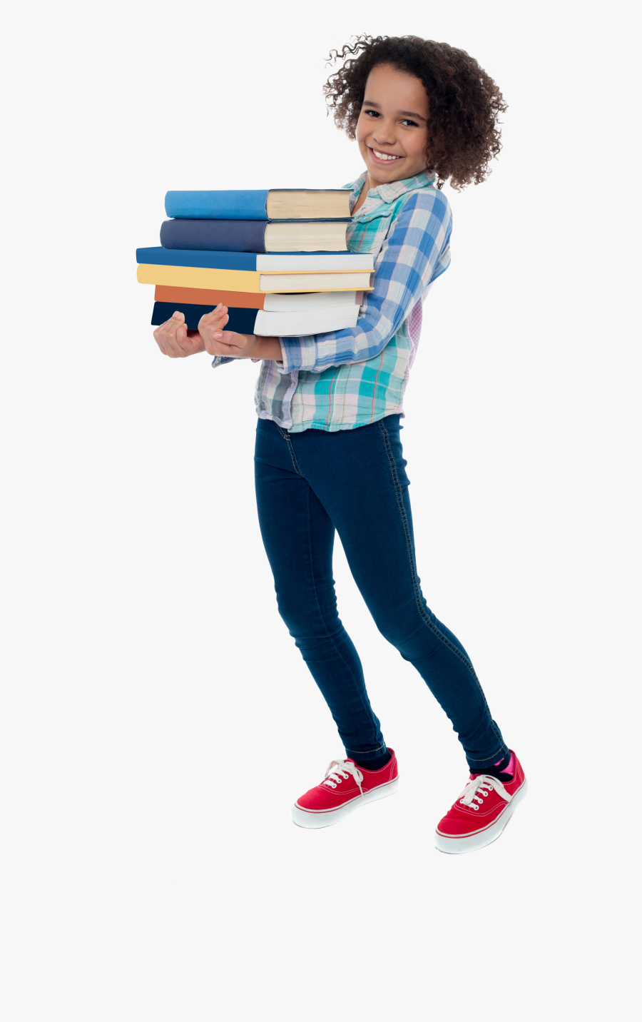 Young Girl Student Png Image - Girls With Book Png, Transparent Clipart
