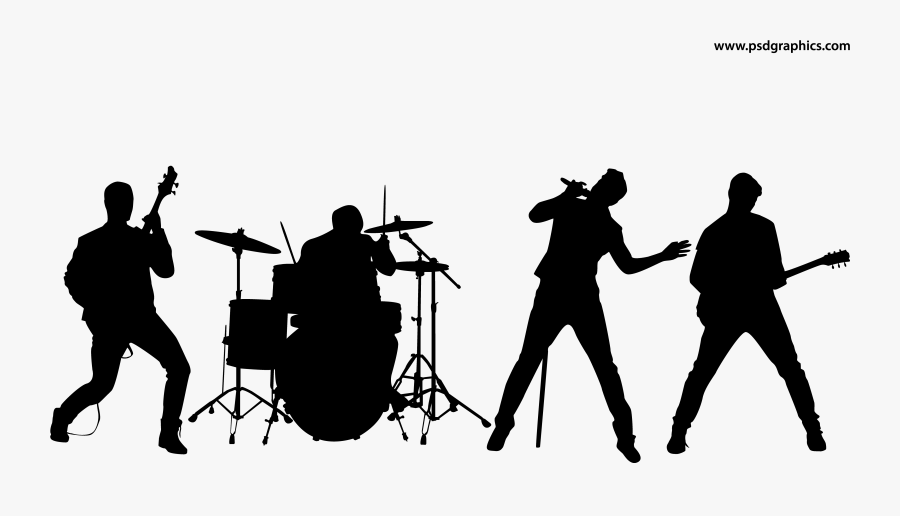 Transparent Marching Band Drum Clipart - Rock Band Silhouette, Transparent Clipart