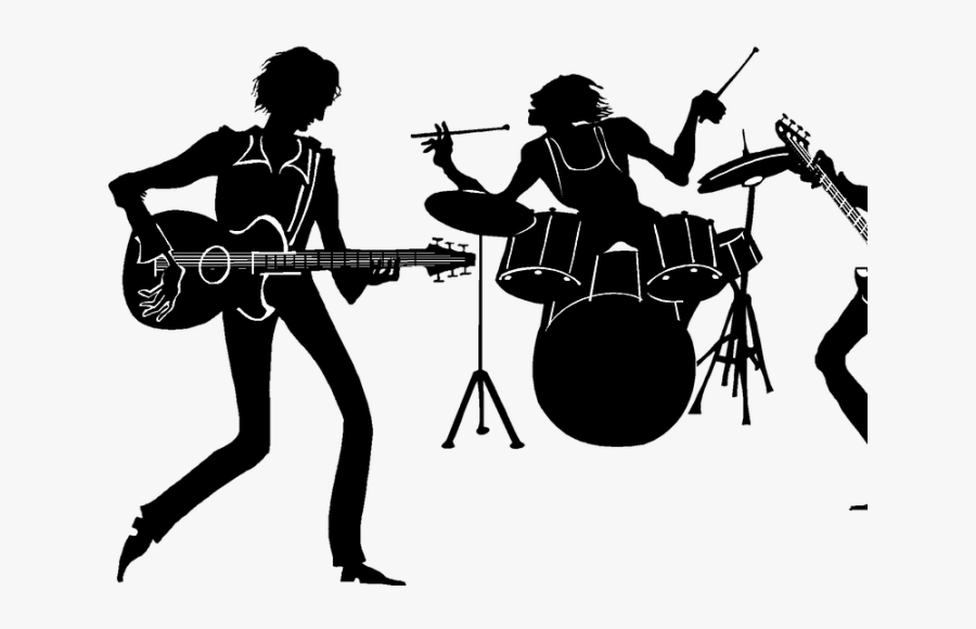 Transparent Music Band Png - Rock Band Silhouette Png, Transparent Clipart