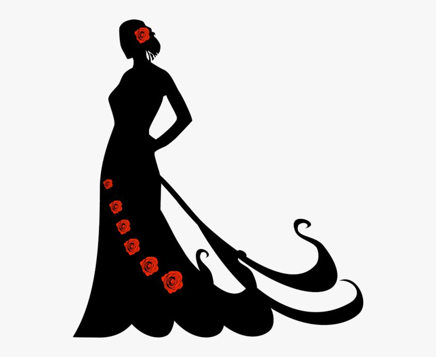 Silhouette Flamenco Dancer Portrait - Silueta De Mujer Con Vestido Largo, Transparent Clipart