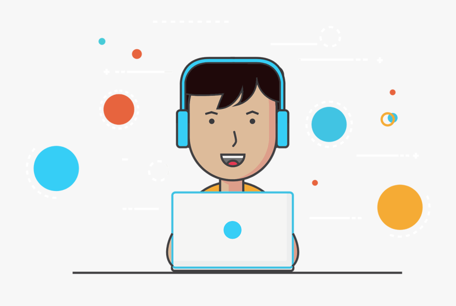 User Developing Software On His Computer - Cartoon, Transparent Clipart