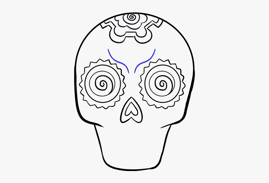How To Draw Sugar Skull - Dia De Los Muertos Drawings Easy To Do, Transparent Clipart