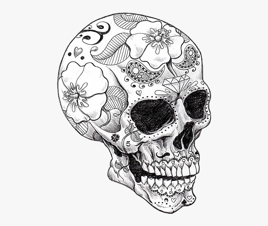 Dia De Los Muertos Skull Drawing, Transparent Clipart