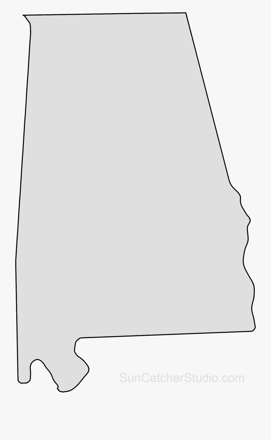 Clip Art Map Printable Shape Stencil - Shape Of State Of Alabama, Transparent Clipart