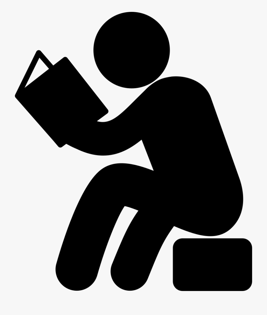 Man Sitting And Reading Book Svg Png Icon Free Download - Man Reading Book Icon, Transparent Clipart