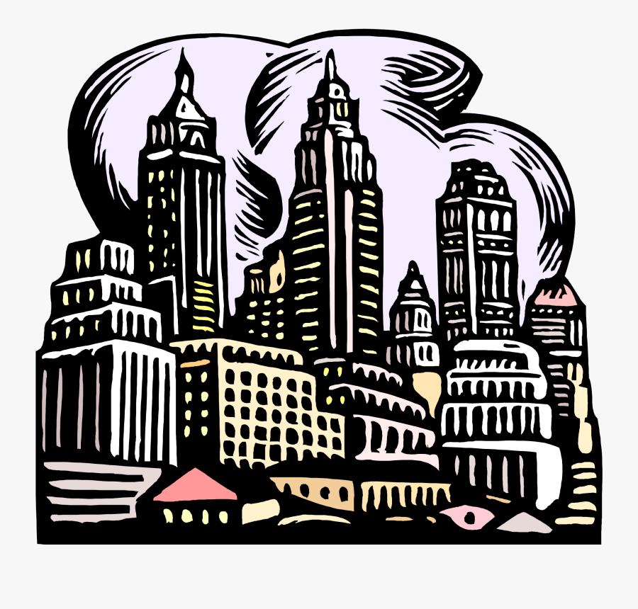 City Illustration Woodcut, Transparent Clipart