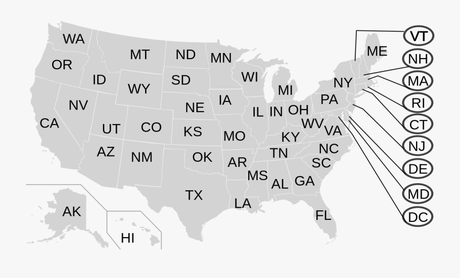 Usa States 2 Letters, Transparent Clipart
