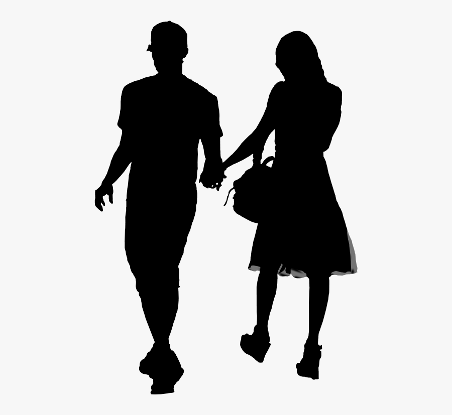 Clip Art Silhouette Girl Boy Image - Silhouette Girl And Boy Png, Transparent Clipart