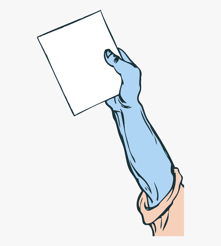 Hand Holding Paper - Arm Holding A Sign, Transparent Clipart