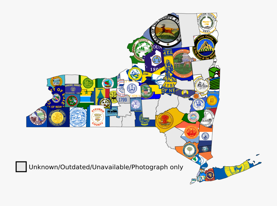 Map Of The New York Flag, Transparent Clipart