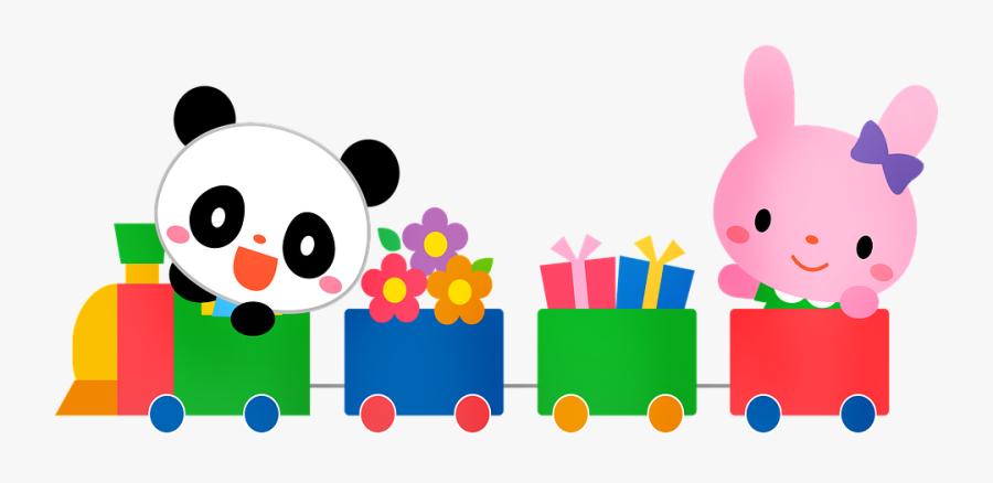 Choo Choo Tren, Conejo, Panda, Kawaii, Lindo, Zoológico - Train, Transparent Clipart