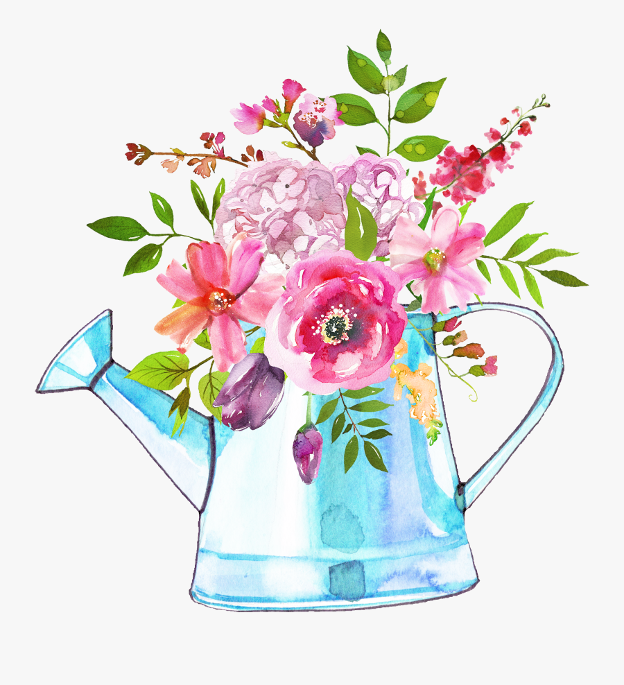 The Easter Sale Is Happening Now Use Code Easter35 - Watercolor Watering Can Bouquet, Transparent Clipart