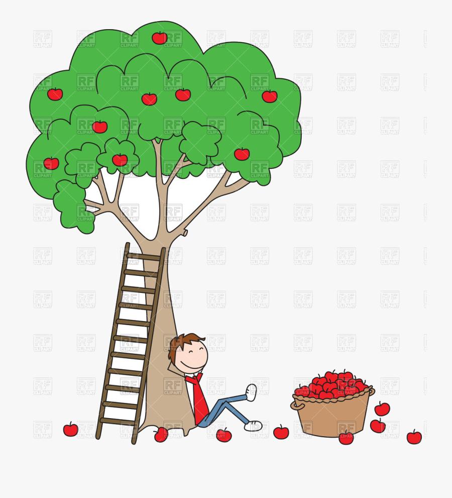 Apple Tree Cartoon Boy Sitting Under With Basket Full - Boy Sitting Under The Tree, Transparent Clipart