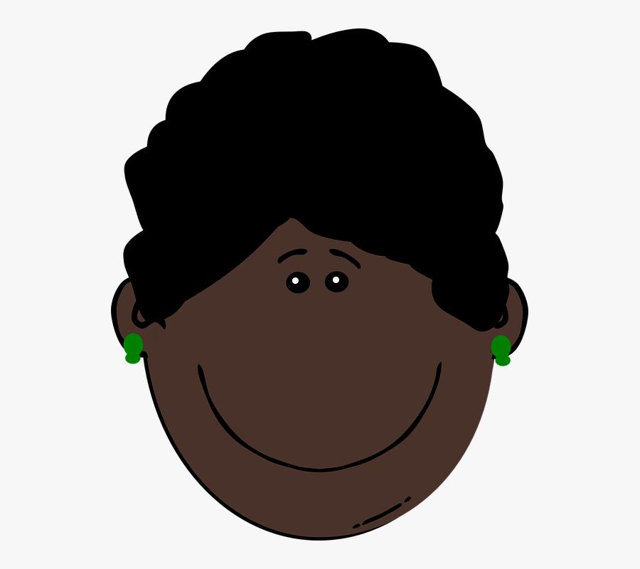 Woman, Happy, Female, Black, Hair, Curly - Dark Skin In Cartoon, Transparent Clipart