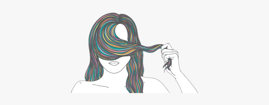 #rainbow #hair #highlights #hairstyle #hiding #shy - Drawing, Transparent Clipart